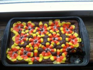 Candy corn brownies--a fall favorite