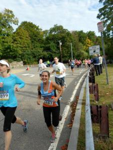 My first Boston Athletic Association half marathon--still smiling at mile 7!