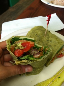 Delicious vegetarian wraps at Green Lotus