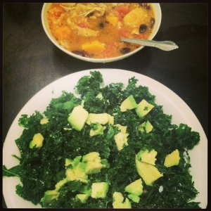 Massaged kale salad and chicken stew