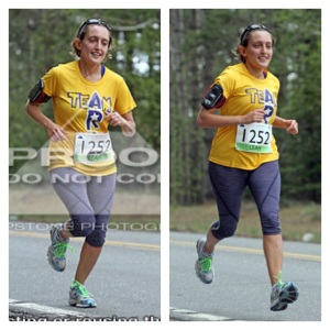 Left side: typical race photo. Right side: lookin' like a runner!