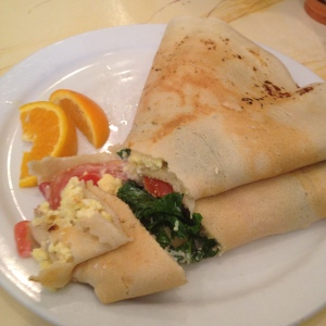 Gluten free post-race crepe at Paris Creperie in Brookline