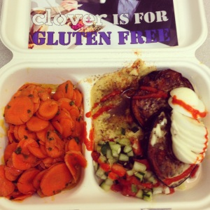 Egg and eggplant platter with carrot salad from Clover