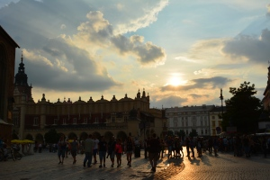 Sunset in Krakow's main square