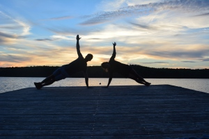 Side plank by the lake! #yogaeverywhere